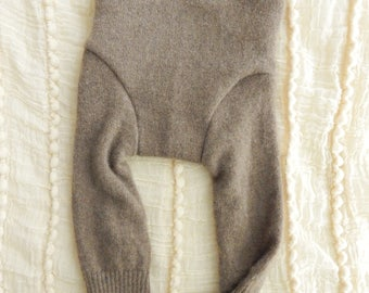Soft Brown Cashmere/Wool Longies - SMALL