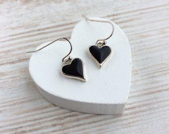 Black Heart Earrings. Valentines Heart Earrings. Gift for Girlfriend. Delicate Earrings. Small Drop Earrings. Silver Heart Earrings.