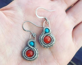 Turquoise and Carnelian Mini Wire Wrap Earrings