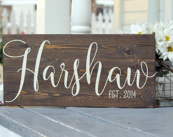 "Last name sign, Custom slatted wood sign, Family name sign, Custom wedding gift, Housewarming gift, Established sign, Measures 10.5"" x 22"""