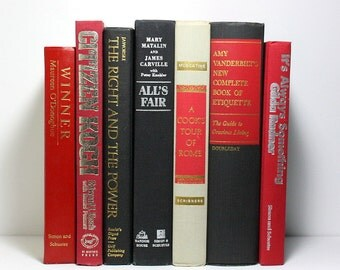 Vintage Books, Decorative Red and Black Books, Set of 7 Hardcover Books, Amy Vanderbilt 1963 Vintage Etiquette Book, Stage Decor