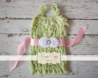 Lace Baby Romper - Girls Romper, Baby Girls 1st Birthday Outfit, Lace Romper, Baby Romper, Mint Green Petti Romper, Cake Smash Outfit