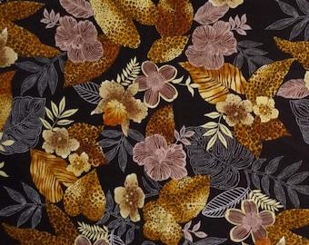 Black& Brown Floral Fabric, Robert Kaufman Native Arts 8636, Tropical Floral Quilt Fabric, Jungle Print Fabric, Cotton