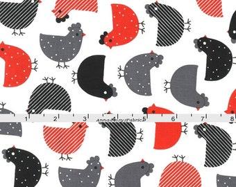 Chicken Fabric, Ann Kelle, Robert Kaufman 14720 3 Red, Urban Zoologie, Gray, Red & Black Chicken Quilt Fabric, Cotton