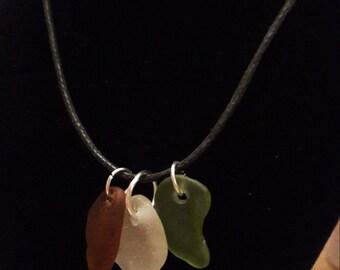 Unique Three Piece Seaglass Necklace/Pendant
