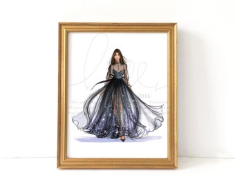 In the Moonlight (Fashion Illustration Print)