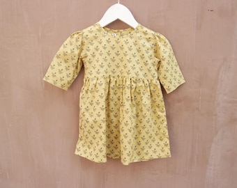Baby Girls dress in Organic Cotton Natural Dyes Print