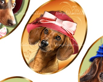 Digital Collage Sheet Taksa Dog in Hat  30x40mm oval images for pendants and jewelry making  Original  Printable 4x6 inch 364