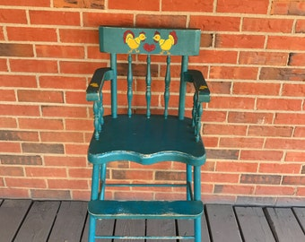 Vintage Wood Hand Painted Child High Chair Antique Baby Chair Turquoise