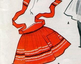 1950s McCalls Sample Apron Vintage Sewing Pattern Half Apron Hostess Apron Pocket