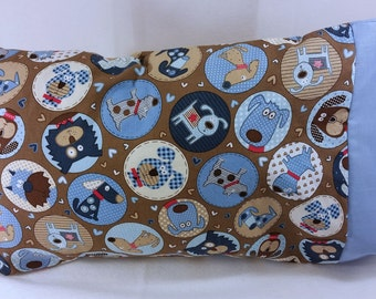 TODDLER/TRAVEL Size Personalized Pillow Case made with Puppy Dog Fabric