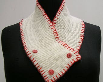 White scarf, white neck warmer, buttoned scarf, knitted cowl neck wrap, red blanket stitch scarf, red scarf, red and white scarf, white cowl