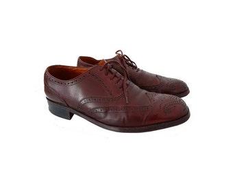 Vintage MEN  BALLY Leather Brogues Dress Shoes // Lace Up WINGTIP Brogue Vintage Oxfords Formal Dress Tan Shoes// size EU42.5 -us9