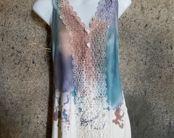 Lace Blouse With Dripping Water Colors (Blue, Purple, Orange)