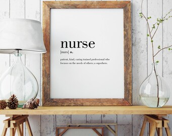 Nurse Definition Printable | Wall Art | Poster | Minimal Print | Nurse Print | Modern Print | Nurse Gift | Type Poster | INSTANT DOWNLOAD