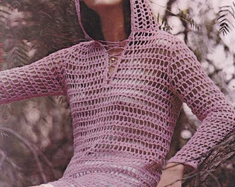 PDF crochet pattern womens hooded tunic top blouse cover up pdf INSTANT download pattern only pdf