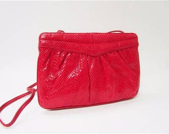 Aspects Vintage Sweetheart Red Snakeskin Date Night Clutch 80s Bag Evening Purse