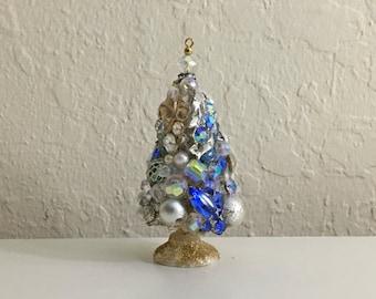 Christmas Tree Ornament, Vintage Beads, Vintage Jewelry, Bottle Brush Tree, Shabby Chic
