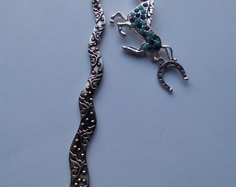 Silver coloured metal Bookmark with blue Horse charm