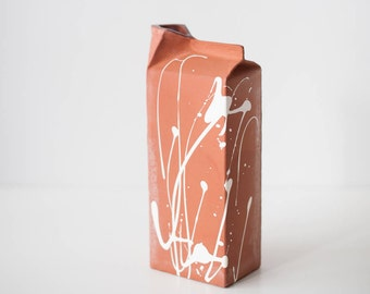 Ceramic milk carton, milk jug, handmade ceramic milk pack