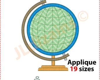 Globe Applique Design. Globe embroidery design. Earth applique design. Embroidery design globe. Globe applique. Machine embroidery design
