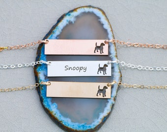 SALE • Beagle Necklace • Pet Bar • Personalized Dog Bar Necklace • Rose Gold Dog • Beagle Lover • Beagle Gift • Custom Dog Gift • Pet Loss