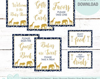 Safari Navy and Gold Glitter Baby Shower Sign Package Deal, Seven Signs, Instant Download, Baby Shower Decor, Animals, Blue, Giraffe, 16S