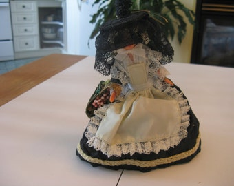 Vintage French Doll Bresse Diane black and white dress GOOD Condition