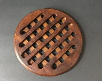 Teak Mid Century Wooden Trivet. Criss cross pattern. Waffle trivet.