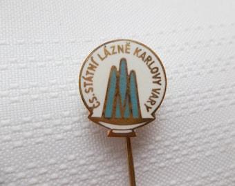 C.S. Statni Lazne Karlovy Vary Pin Czech Republic, Vintage Spa Pin, Karlovy Vary Souvenir, Czech Tourism
