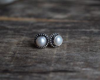 Pearl Studs Sterling Silver Pearl Studs Rustic Pearl Earrings Pearl Earrings Studs