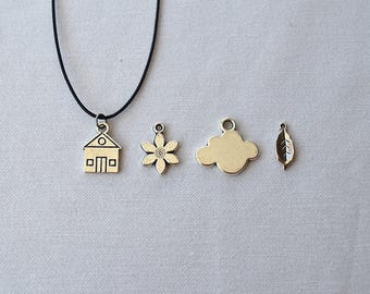 Silver Charm Necklace, House Necklace, Flower Necklace, Cloud Necklace, Leaf Necklace
