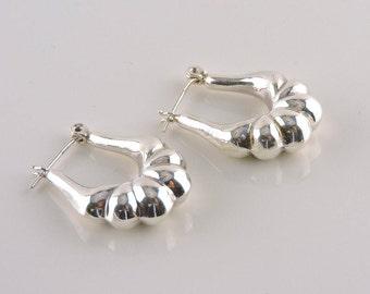 Sterling Silver Puffy Hoop Earrings