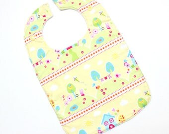Baby Bib. Traditional Baby Bib. Baby Bibs Handmade. Baby Girl Bib. Newborn Baby Bib, yellow bunnies out to play