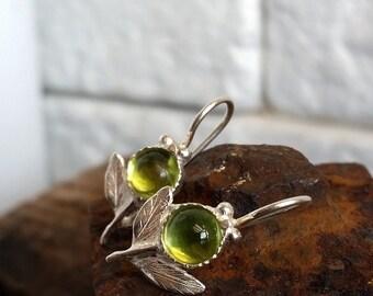 Drop Earrings with green stone, Peridot earrings, Green Leaf Earrings, sterling silver earrings, silver flower earrings, Green jewelry, gift
