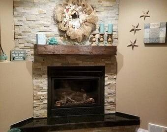 "Fireplace mantel.60"" Long x 5.5"" Tall x 7.5"" Deep. Mantel Shelf.Fireplace Mantle.Wooden Mantel. Rugged finish wood fireplace mantle."