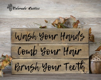 "Rustic Bathroom Decor, Wash Your Hands Sign, Distressed Wood, Bathroom Art, Rustic Wood Signs, Child Bathroom Art, Set of 3, 4"" x 20"""