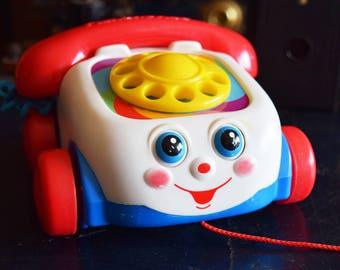 Vintage Fisher Price Rotary Phone - Pully Toy - Motor Skill Development - Young Kids Toy - Telephone Playtoy - FISHER PRICE