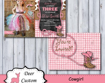 Cowgirl Birthday Invitation | ANY Birthday | Western Birthday Chalkboard Photo Invite | Printable or Printed | Personal Use Only | Horse