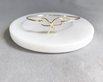 Bow Bangle Bracelet, Bridesmaid Jewelry, Tie the Knot, Bridesmaid Gift, Bow Jewelry, Dainty Bangle, Bangle Bracelet