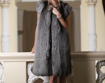 Natural Real Finnish Finn silver fox silverfox fur vest fur gilet fur waistcoat fur sleeveless coat collarless