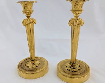 Pair of French gilt bronze 19th century candlesticks