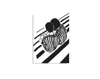 Illustration Poster, Black And White Art, Urban Art, Gift Ideas, Exchanging secrets, Minimal decor, Inspirational decor