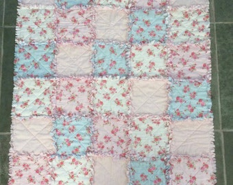 Baby Rag Quilt, Shabby Chic, Baby Girl Blanket, Tummy Time Mat, Handmade Quilt, Baby Shower Gift, Pink Roses, Ready to ship