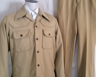 1970s Harvest Gold Leisure Suit - Mens Gold Disco Suit Corduroy Look from Wrangler size Large