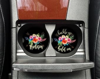 Car Coaster, Floral Coaster, Gift for her, Mothers Day Gift, Bridesmaid Gift, Car Cup Coaster, Custom Car Coaster, Monogram car, (CAR0003)