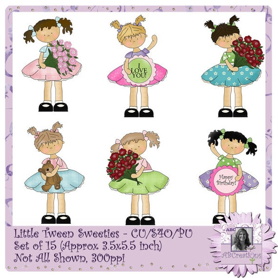 Little Tween Sweeties, digital stickers, die cuts, clip art, valentines, teenagers, teens, girls, roses, love, dresses, digital scrapbooking