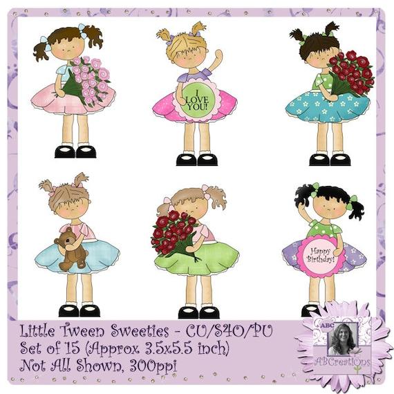 Little Tween Sweeties, digital stickers, die cuts, clip art, valentines, teenagers, teens, girls, roses, love, dresses, digital scrapbooking