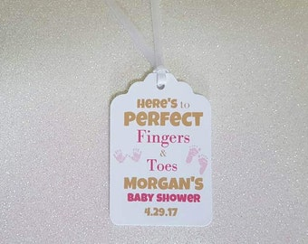 """Nail Polish Baby Shower Favor Tags *Baby Shower Gift Tags  *Pink & Gold Tags *Here's to Perfect Fingers and Toes Tags *2.25""""  *PERSONALIZED"""