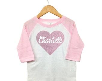 Valentines Day Shirt -  Custom Valentine Shirt - Toddler Valentine - Toddler Heart Shirt - Toddler Glitter Name -Custom Baby Valentine Shirt